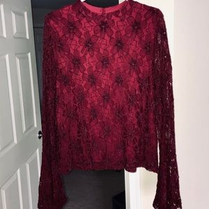 Altar'd State Flared Sleeve Crimson Top, Size M